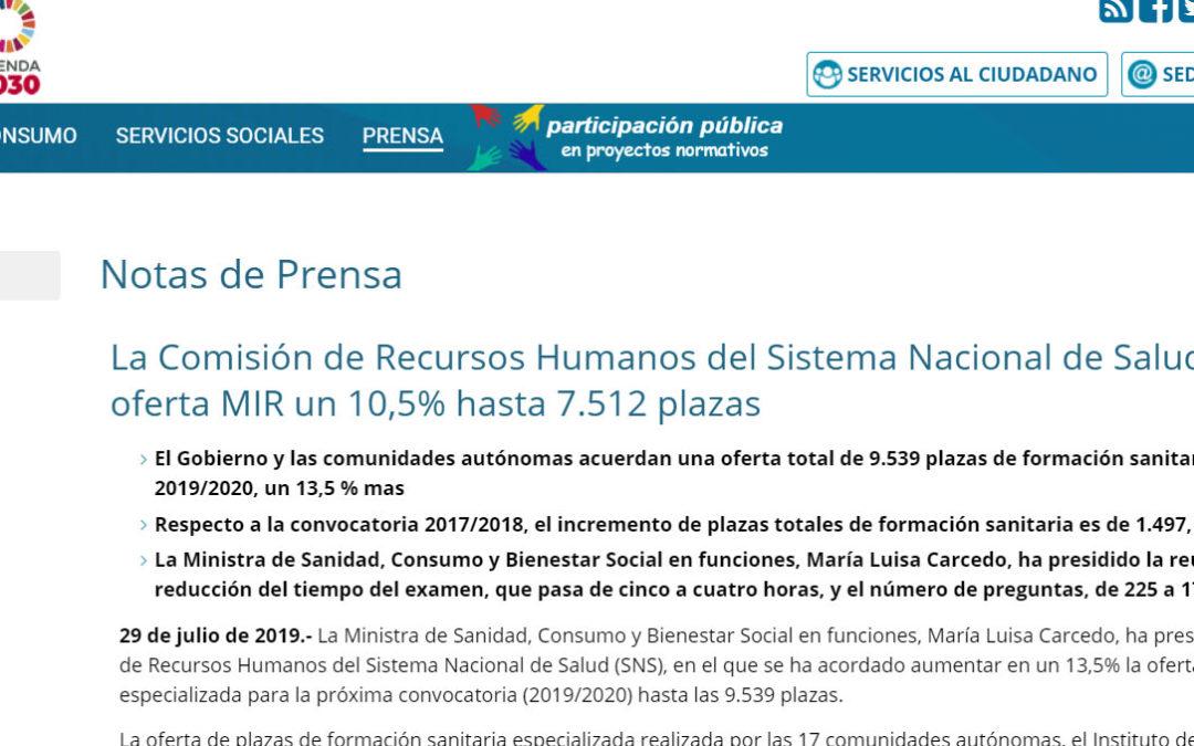 189 plazas PIR convocatoria 2019 (Examen PIR Febrero 2020)