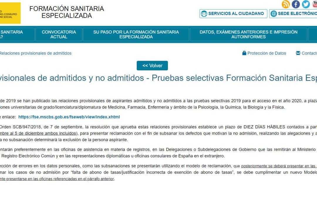 Publicada lista provisional de admitidos y no admitidos examen PIR 25 Enero 2020 (Convocatoria 2019)