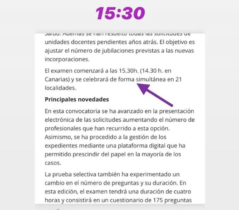 Nota de prensa Ministerio de Sanidad examen PIR 25 Enero 2020. (Comienzo 15:30)
