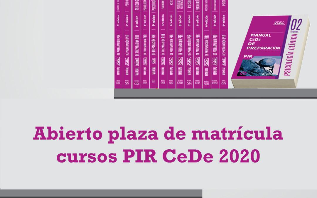 ABIERTO PLAZO DE MATRICULA CURSOS PIR – CeDe 2020