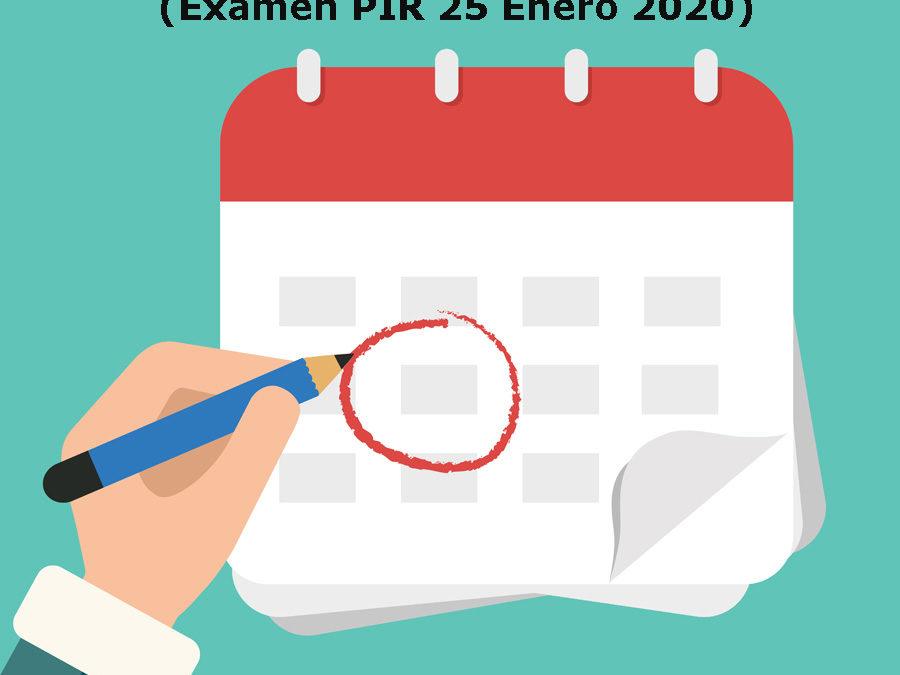 Publicado calendario estimado de las pruebas selectivas PIR 2019 (examen PIR 25 Enero 2020).