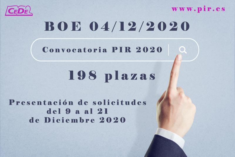 Convocatoria PIR 2020. B.O.E. 4.12.20 (198 plazas)