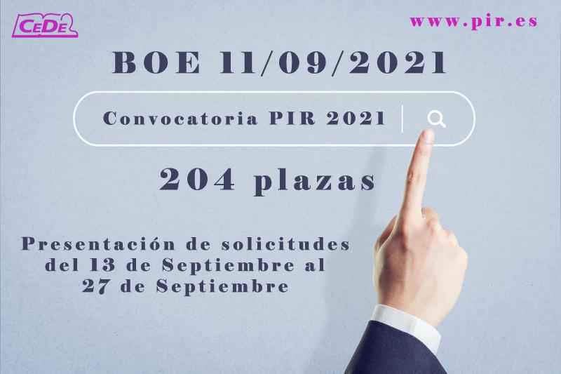 Convocatoria PIR 2021. B.O.E. 11.09.21 (204 plazas)